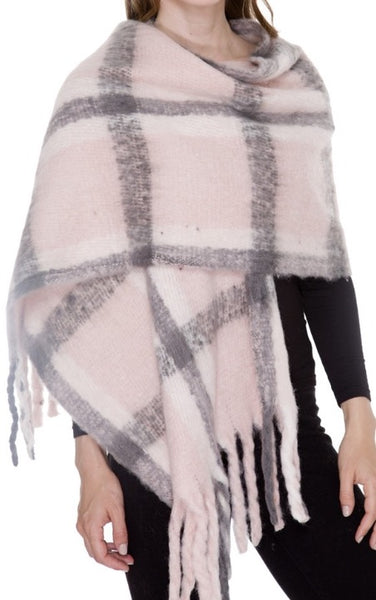 Witchy Poo Chunky Pink and Grey Buffalo Check Scarf