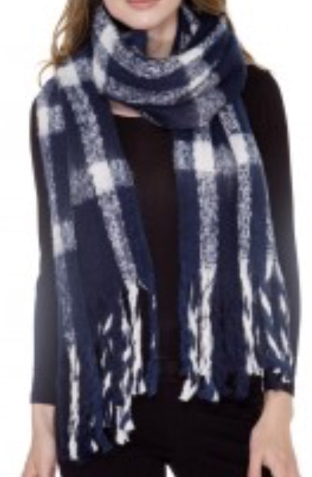 Witchy Poo Chunky Navy & White Buffalo Check Scarf