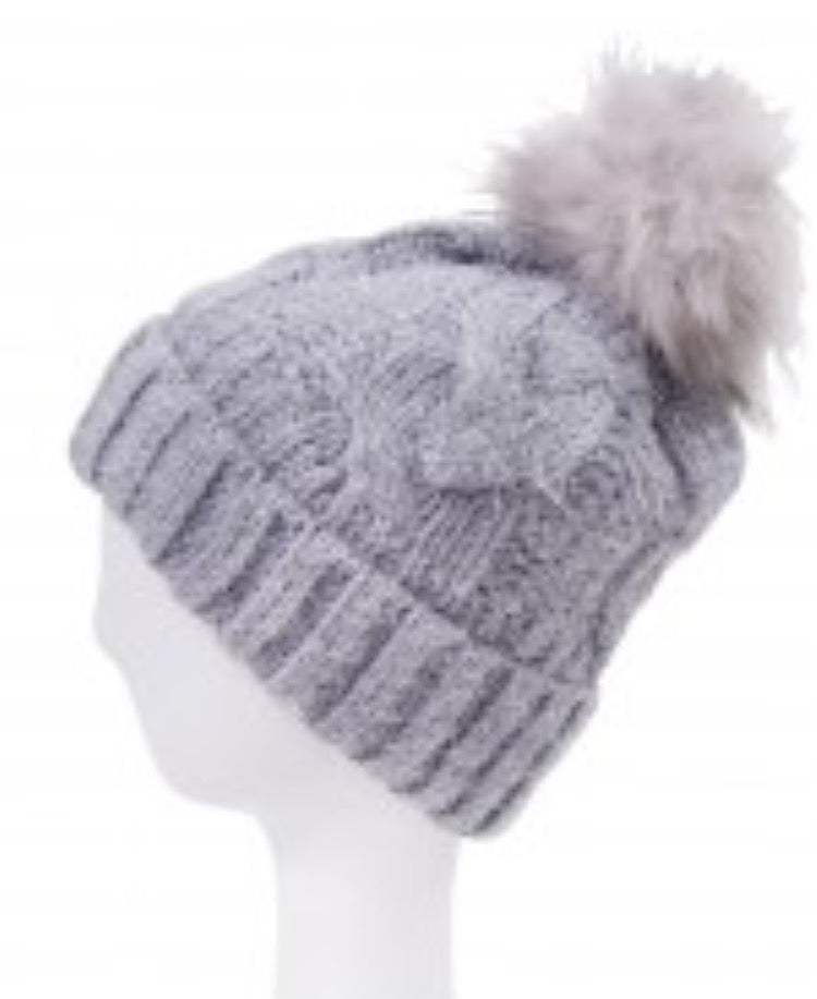 Witchy Poo Gray  Cable Knit Hat w/ Faux Fur Ball