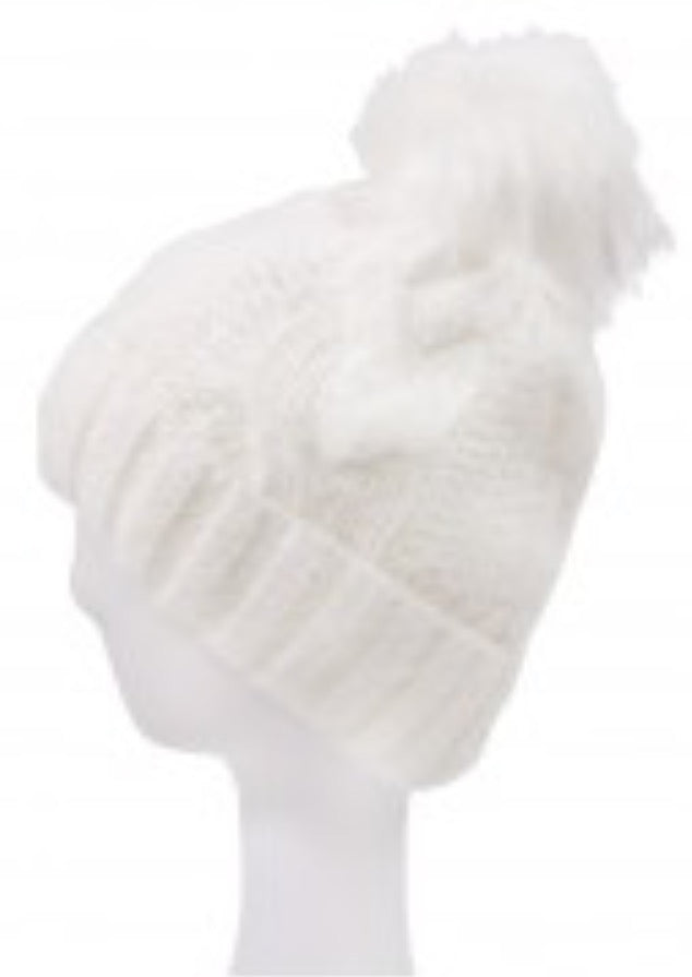 Witchy Poo Ivory Cable Knit Hat w/ Faux Fur Ball