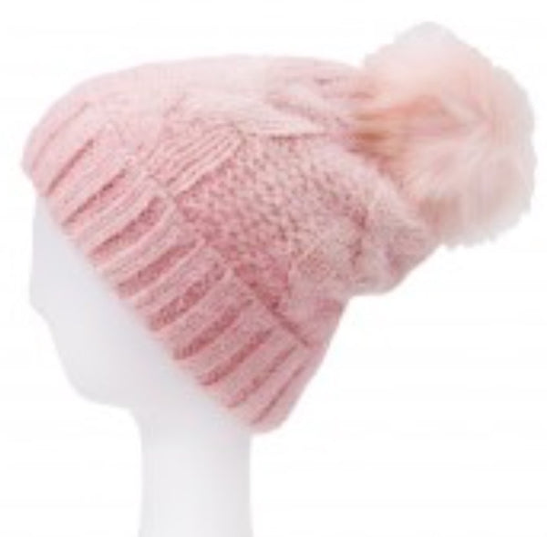 Witchy Poo Pink Cable Knit Hat w/ Faux Fur Ball