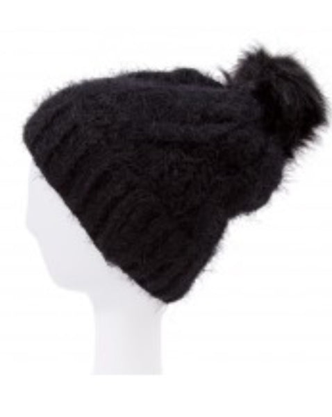 Witchy Poo Black Cable Knit Hat w/ Faux Fur Ball
