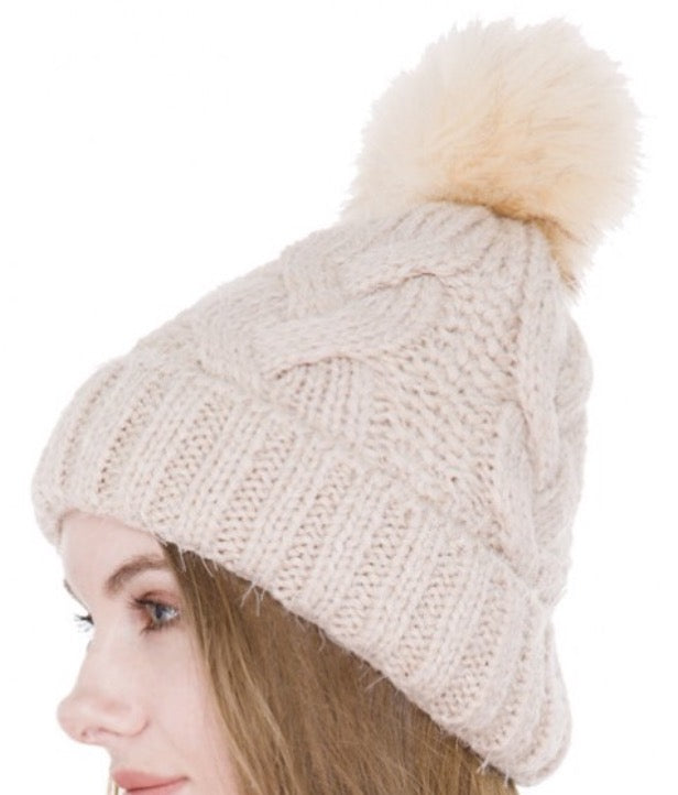 Witchy Poo Beige  Cable Knit Hat w/ Faux Fur Ball