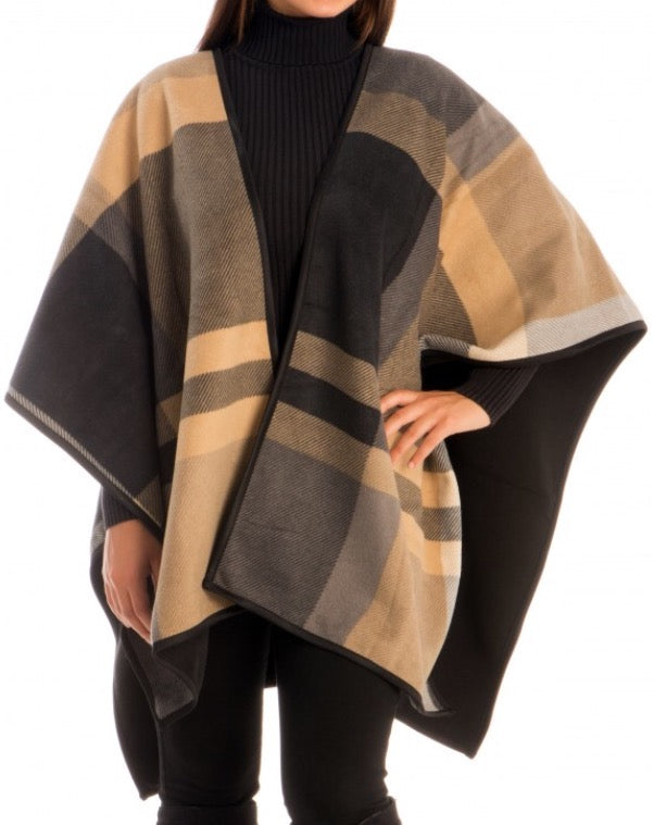 Witchy Poo's Tan Wide Plaid Shawl