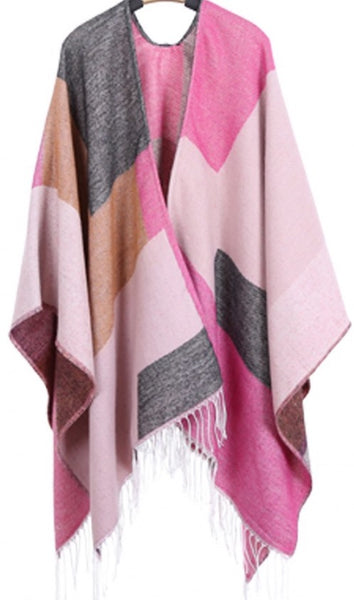 Witchy Poo's Pink Color Block Shawl with Fringe