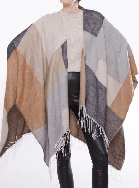Witchy Poo's Tan Color Block Shawl with Fringe
