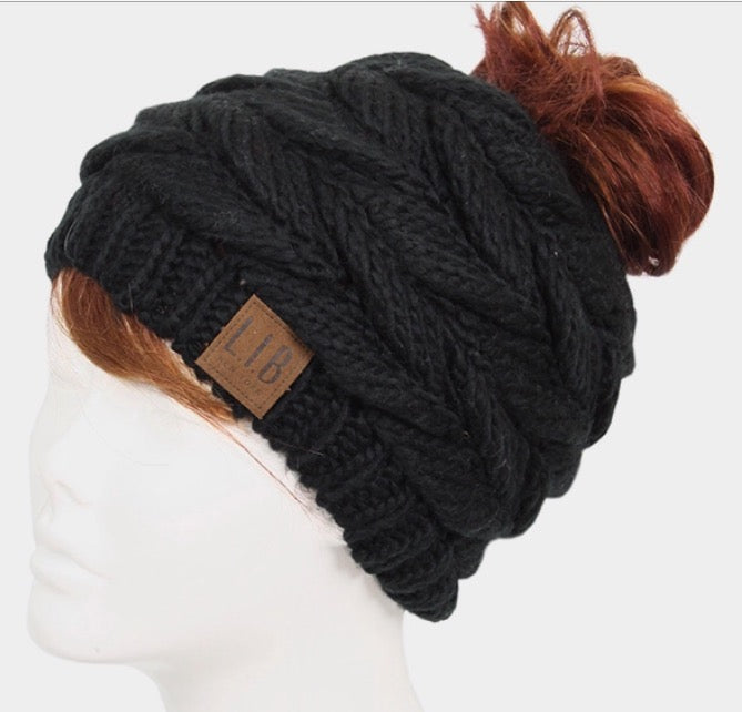 Witchy Poo's Black Braid Knit Pony Tail Hat
