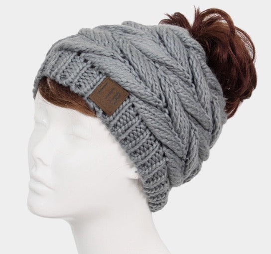 Witchy Poo's Gray Braid Knit Pony Tail Hat