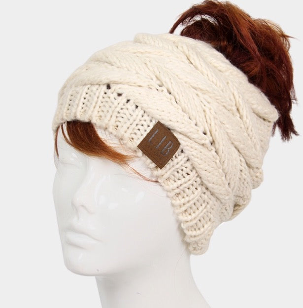 Witchy Poo's Ivory Braid Knit Pony Tail Hat