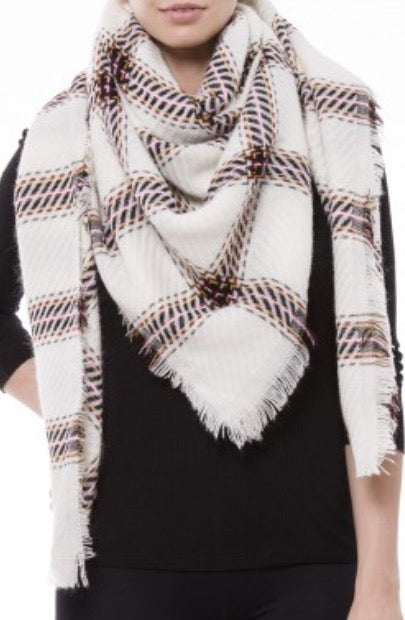 Copy of Witchy Poo's Ivory and Camel Ticket Stripe Blanket Scarf