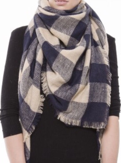 Witchy Poo's Navy Camel Buffalo Check Blanket Scarf