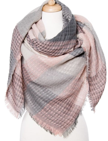 Witchy Poo's Light Pink & Grey Herringbone   Blanket Scarf