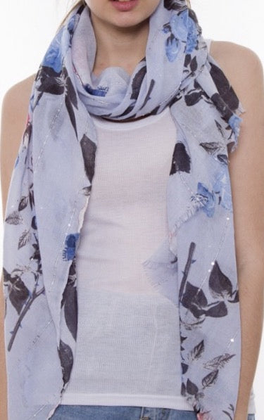 Witchy Poo's Blue Floral Print with Glitter Studded Scarf