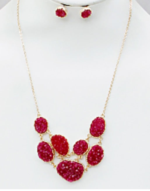 Witchy Poo's Red Druzi Necklace Set