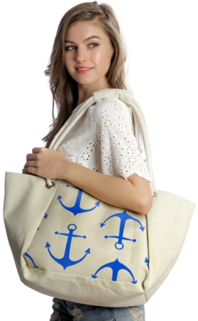 Witchy Poo's Beige  Anchor Beach Bag