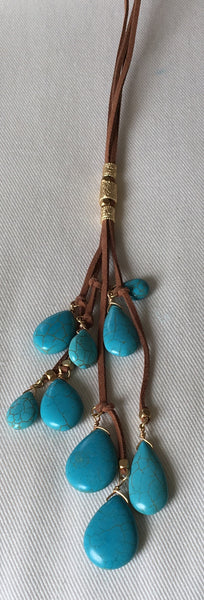 Witchy Poo's Leather Multi Strand Turquoise Mix Bead Necklace