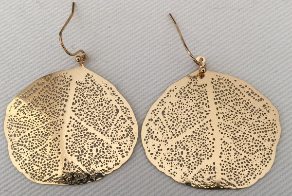 Witchy Poo's Gold Wide Leaf Earring