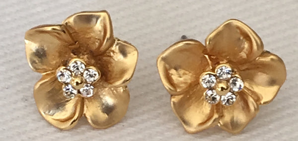 Witchy Poo's  Gold Flower CZ Earring