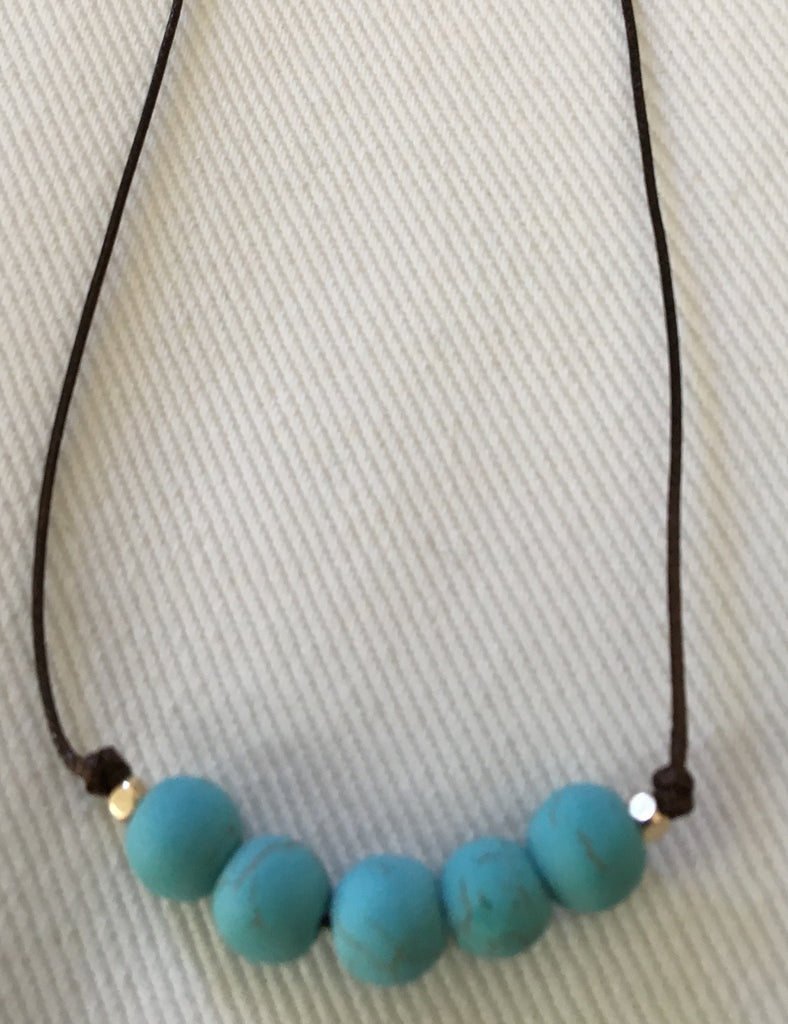 Witchy Poo's Turquoise Stone Cord Necklace