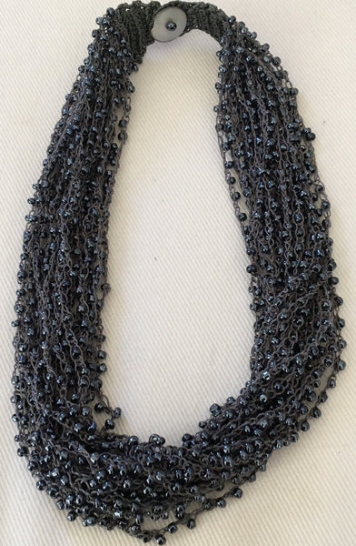 Witchy Poo's Multi Layered Navy Seed  Bead Necklace