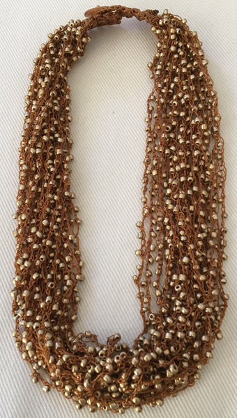 Witchy Poo's Multi Layered Brown Seed  Bead Necklace