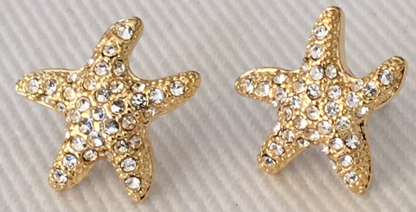Witchy Poo's Gold Starfish CZ Stud Earring
