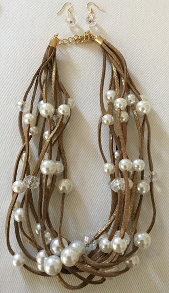 Witchy Poo's  Brown Suede Multi Strand Pearl & Clear Bead Necklace Set
