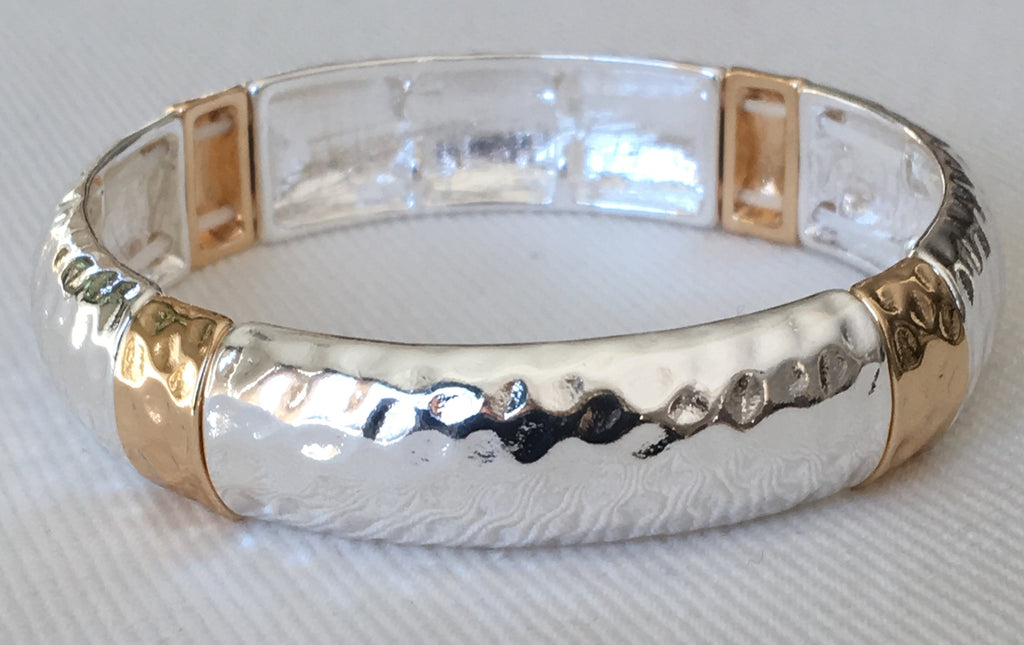 Witchy Poo's Two Tone Silver Hammered Bracelet