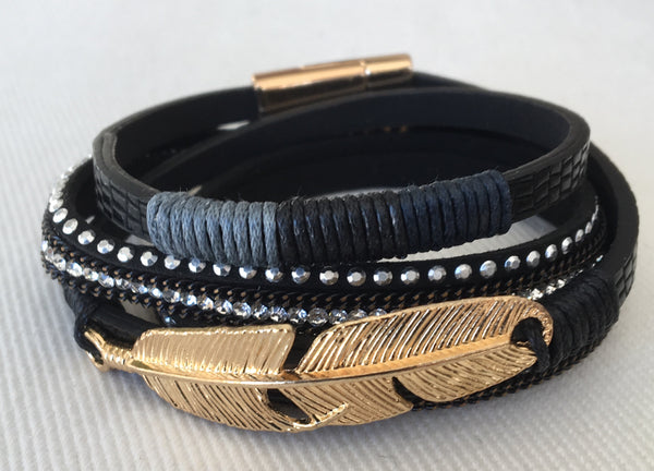 Witchy Poo's Black and Gold Feather Wrap Bracelet