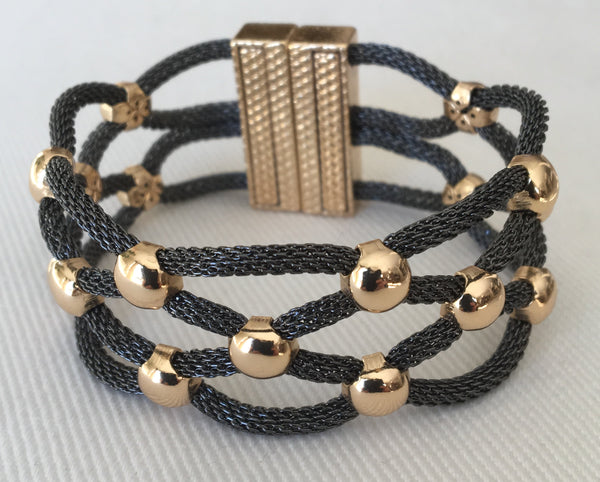 Witchy Poo's Black and Gold Spacer Braid Bracelet