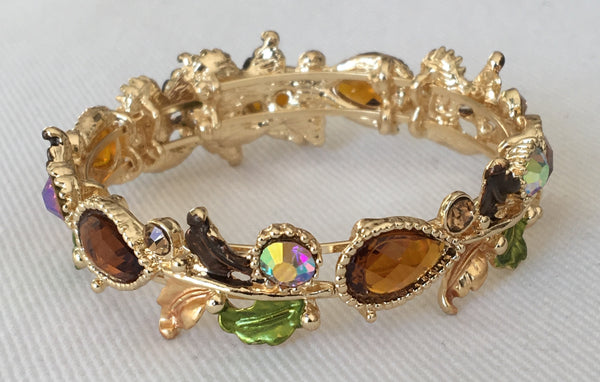 Witchy Poo's Gold Brown Floral Bracelet