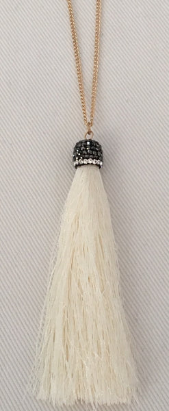 Witchy Poo's Cream Tassel Necklace