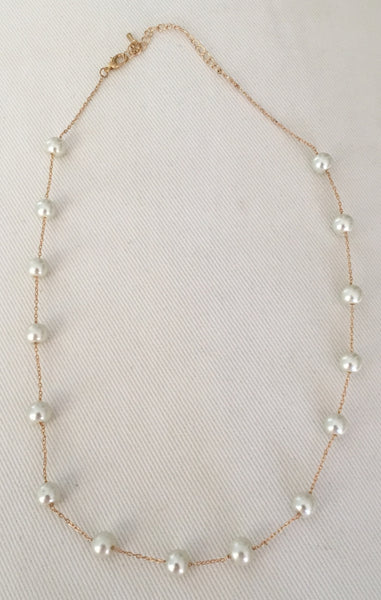 Witchy Poo's Silver Chain with Pearl Station Necklace