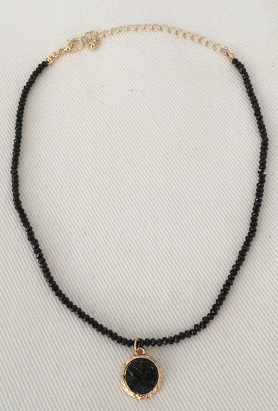 Witchy Poo's Black Faceted with Druzy Stone Necklace