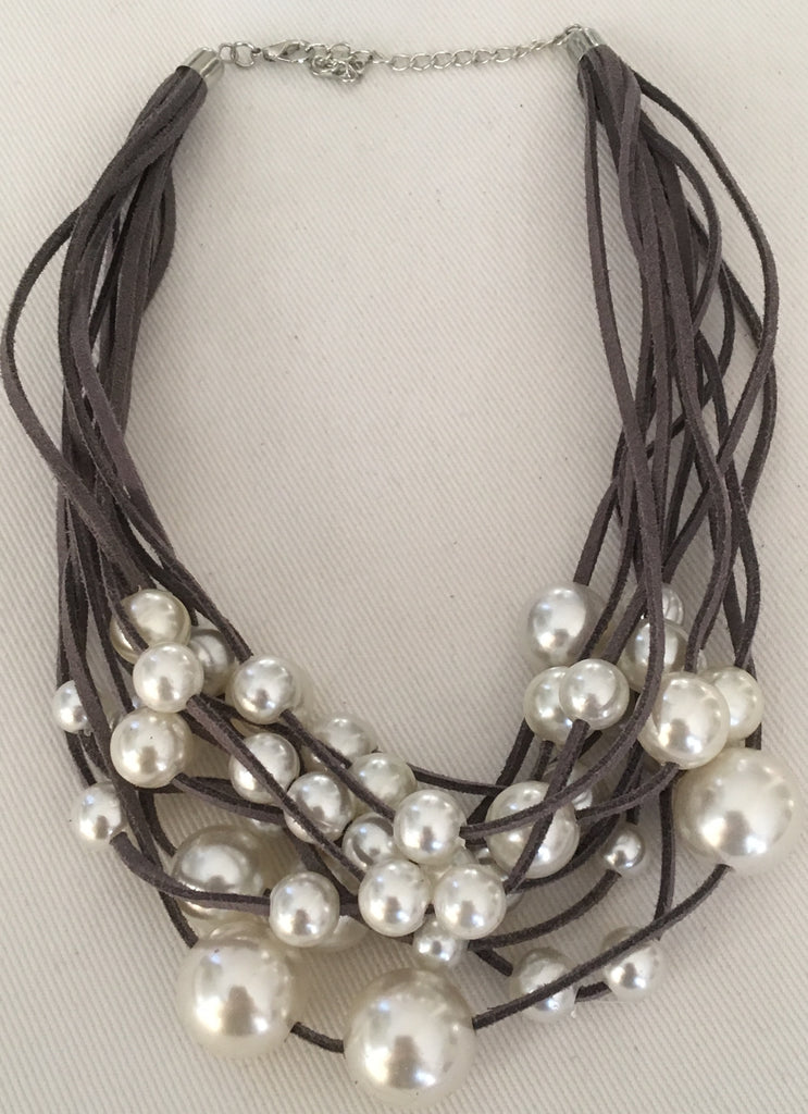 Witchy Poo's Large Pearl on Gray Suede Necklace