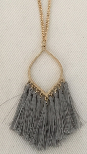 Witchy Poo's Gray Tassel Necklace