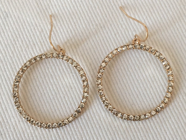 Witchy Poo's Gold w/ Cubic Zerconia Side Hoop Earring