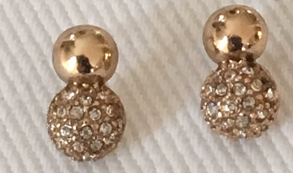 Witchy Poo's Gold w/ Cubic Zerconia Pave Ball Drop Earring