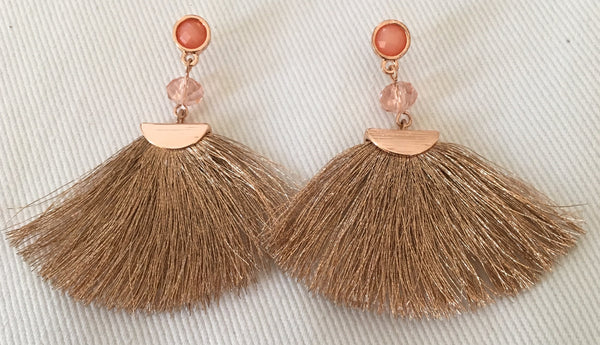 Witchy Poo's Brown Fan Tassel Earring