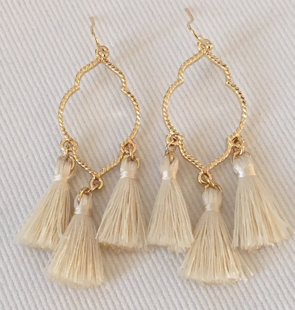 Witchy Poo's Quatrefoil with Cream Tassel Earring