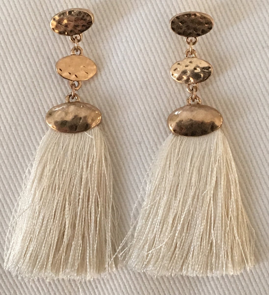 Witchy Poo's Post Top Cream Tassel Earring