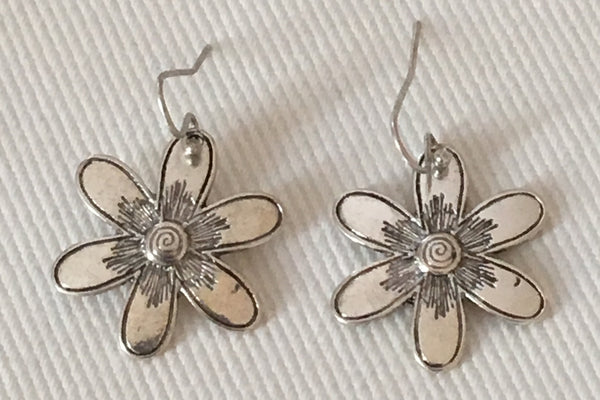 Witchy Poo's  Silver  Flower Earrings