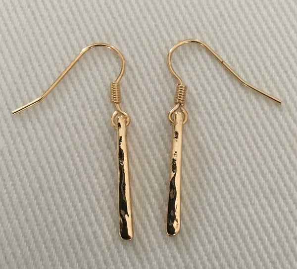 Witchy Poo's Gold Hammered Bar  Earring