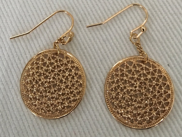 Witchy Poo's Gold Round Filagre  Earring