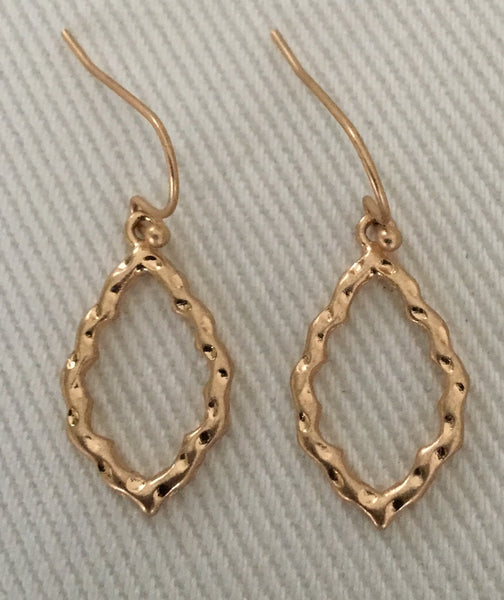 Witchy Poo's Gold Hammered Diamond Shape Earrings