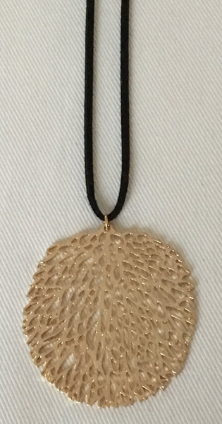 Witchy Poo's Gold Waffle Leaf Black Suede Necklace