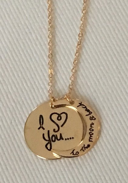 "Witchy Poo's Gold ""I ❤️you to moon & back""  Necklace"
