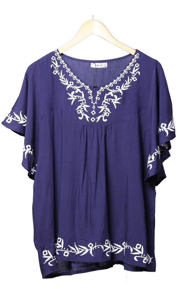 Witchy Poo's Navy Emboirdered Top