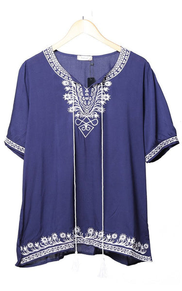 Witchy Poo's Navy Emdroidered Tassel Top
