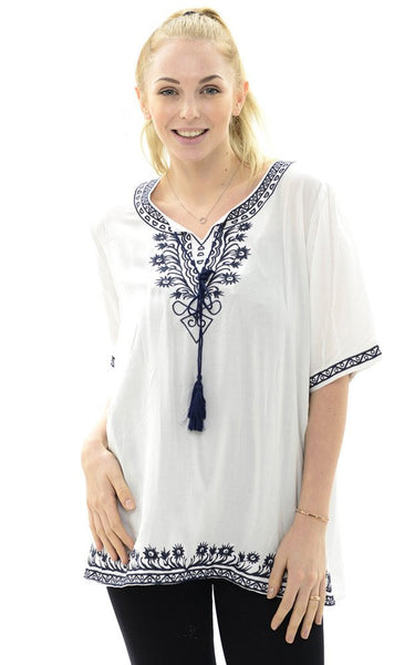 Witchy Poo's White Emdroidered Tassel Top